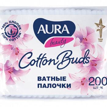 Ватные палочки АУРА п/э пакет, 200шт