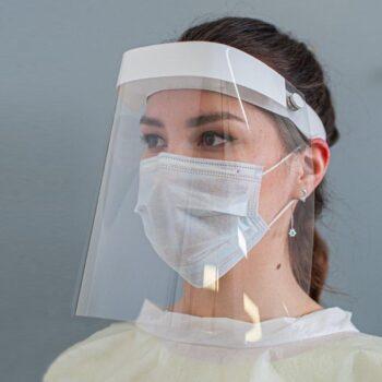Комплект-Экран защитный для лица, многоразовый 1 шт.+ маска голубая 5 шт.