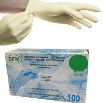 Перчатки латексные SFM нестер. неопудр. текстур.